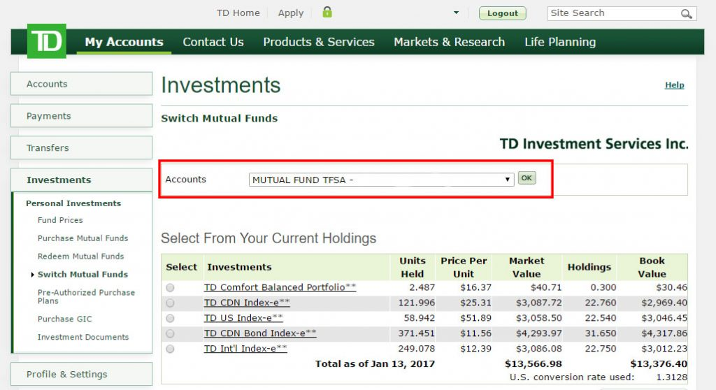Re-balance your TD e-Series Index Portfolio - Step 3: Picking the right account