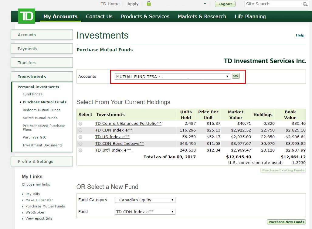 Td Visa Infinite >> How to buy TD e-Series funds