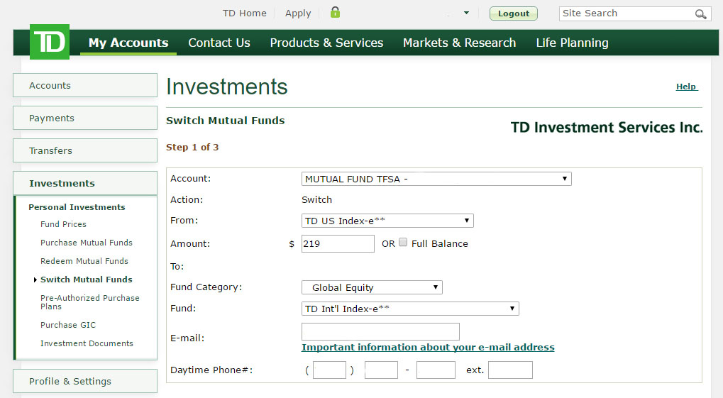 Re-balance your TD e-Series Index Portfolio - Step 4: Filling in your details