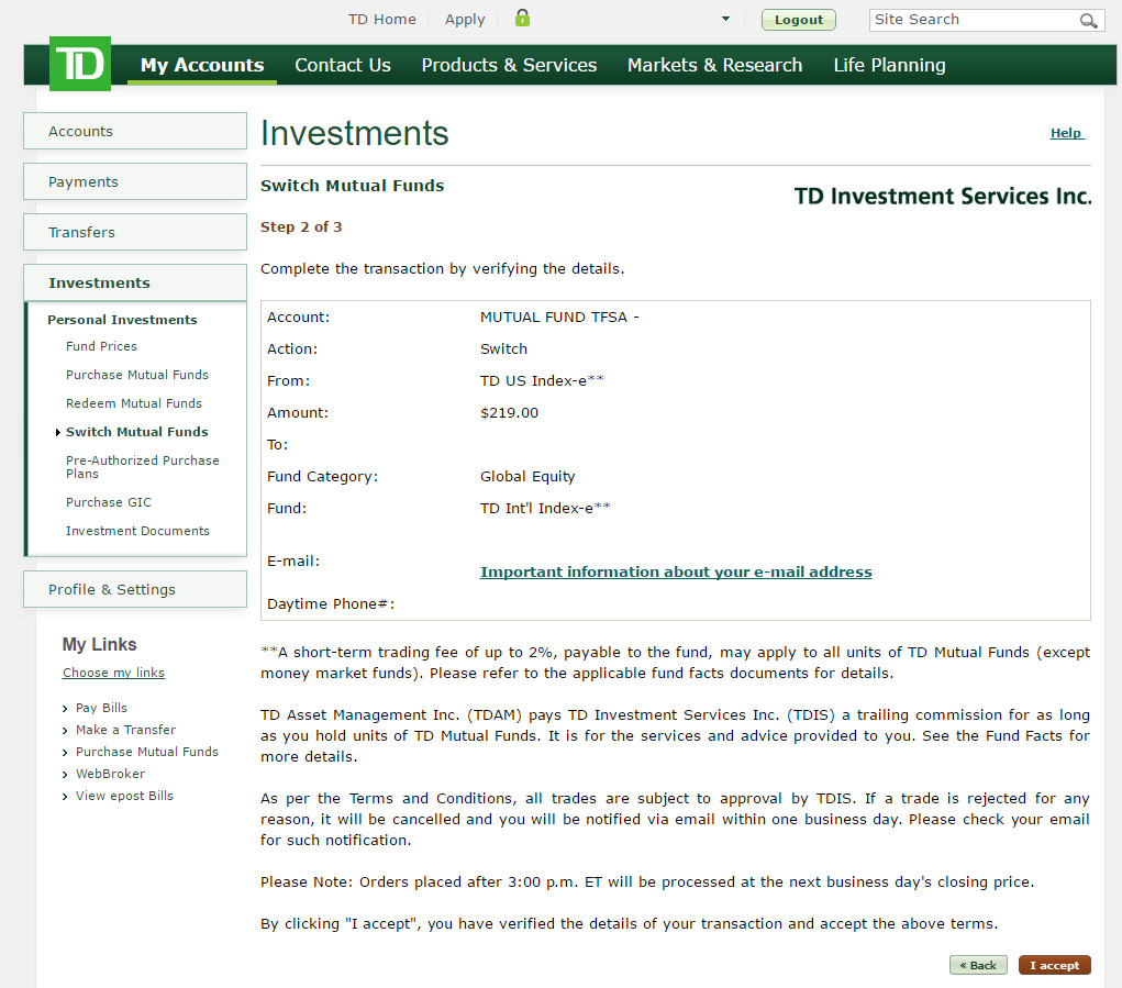 Re-balance your TD e-Series Index Portfolio - Step 5: Confirming your details