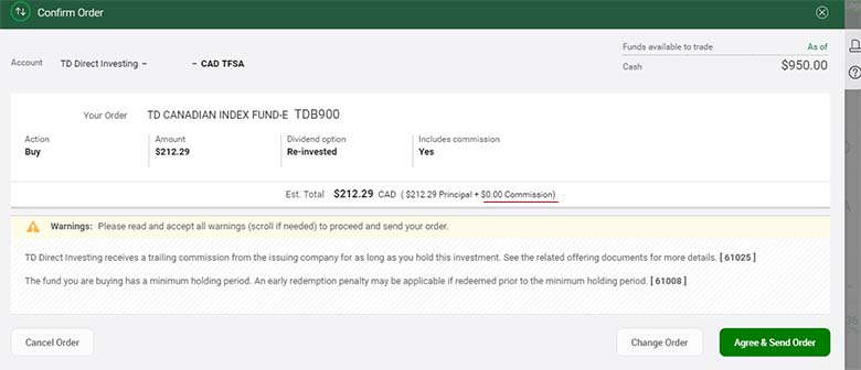 TD Direct Investment Purchase Confirmation with Commision Price