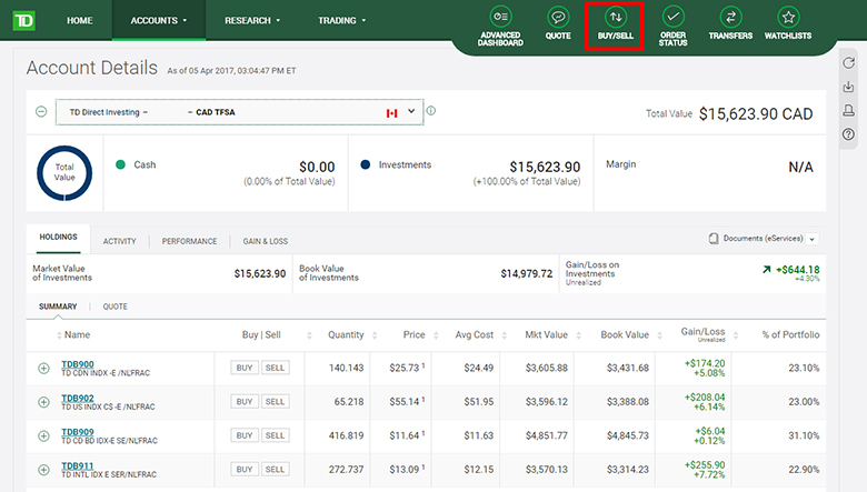 Step by step: How to buy TD e-Series Index Funds through TD