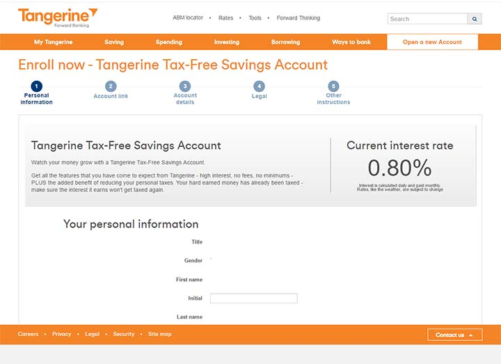 Switch to Tangerine - Open a Tangerine savings account - step 1