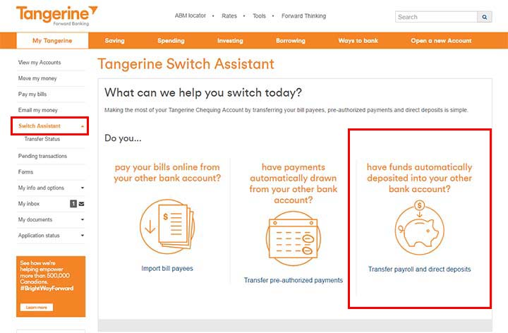 Switch to Tangerine - Tangerine Switch Assistant - Payroll and Direct Deposit