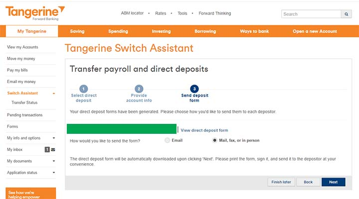 Switch to Tangerine - Tangerine Switch Assistant - Direct Deposit Form