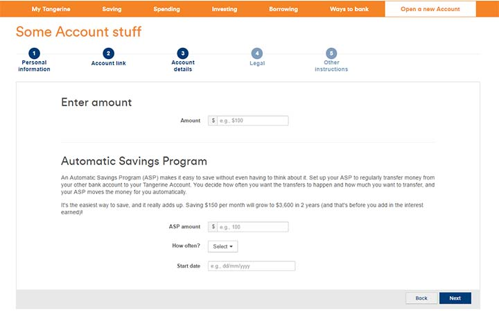 Switch to Tangerine - Opening a Tangerine Savings account - Automatic Savings Program