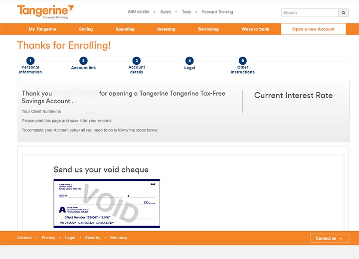 Switch to Tangerine - Open a Tangerine savings account - Enrolled