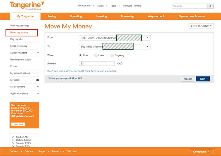 Switch to Tangerine - Move my money