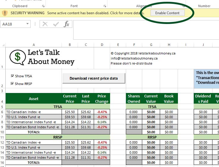 td e series excel track your portfolio let s talk about money