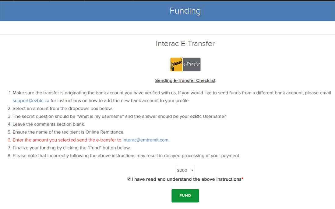 Buy Bitcoin in Canada - Transfer funds from Canadian bank to Bitcoin Exchange - 3 - Fund EzBtc e-transfer steps