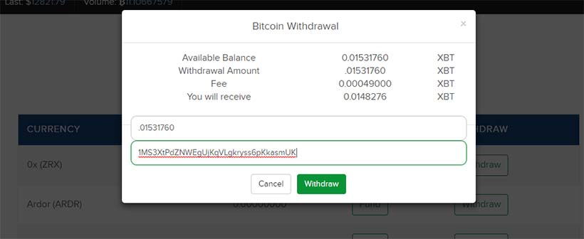 Buy Bitcoin in Canada - Transfer to Software Wallet - 6 - EzBtc Withdraw Bitcoin Final Step
