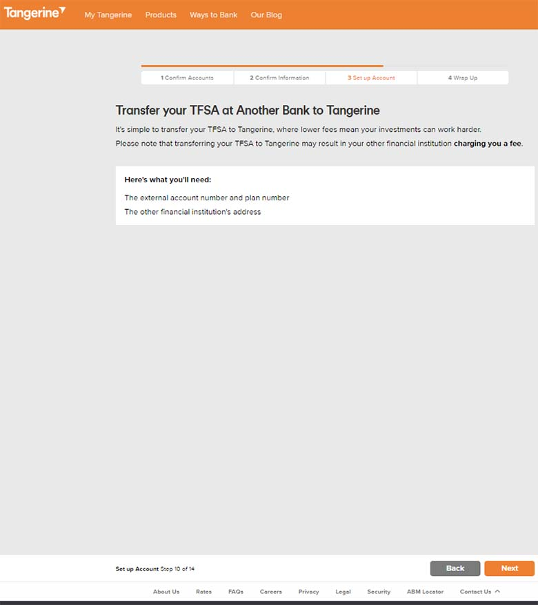Tangerine Investments - 14 - TFSA - 2 - External Funding Set up