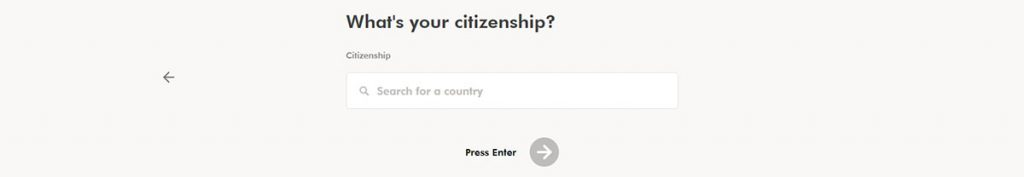 WealthSimple Signup - Step 1 - 6 - Citizenship