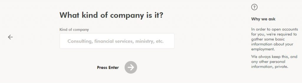 WealthSimple Signup - Step 1 - 13 - Employer company