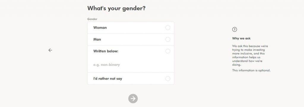 WealthSimple Signup - Step 1 - 7 - Gender