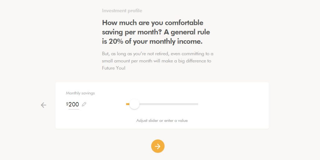 WealthSimple Signup - Step 2 - 10 - Savings amount