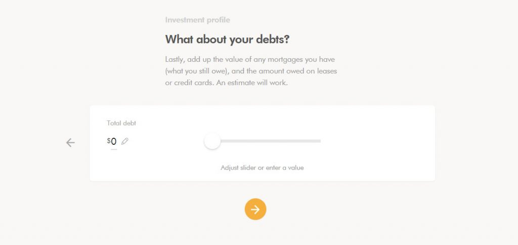 WealthSimple Signup - Step 2 - 13 - Debts