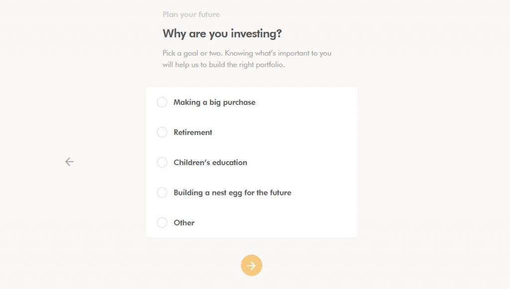 WealthSimple Signup - Step 2 - 3 - Why investing