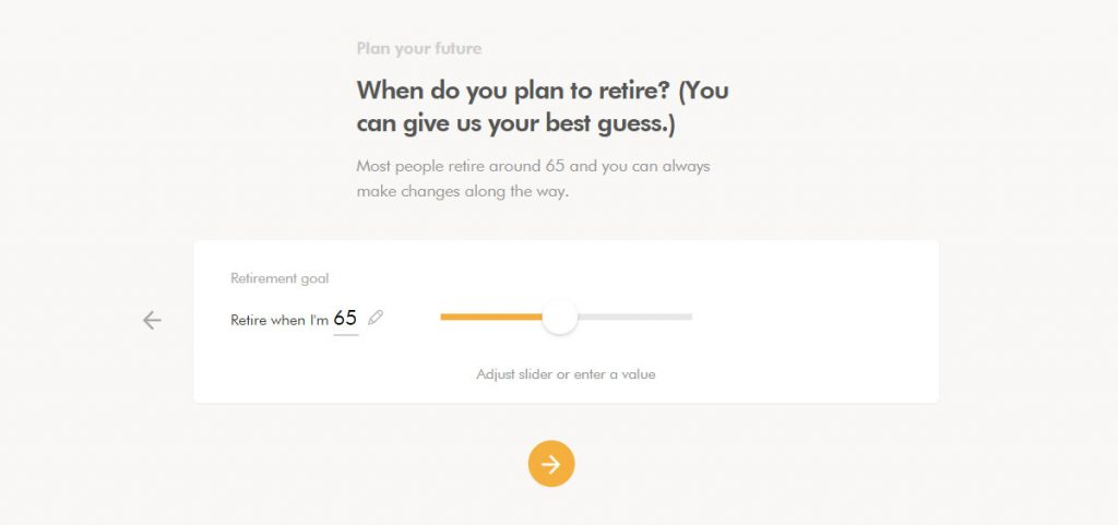 WealthSimple Signup - Step 2 - 4 - When retire