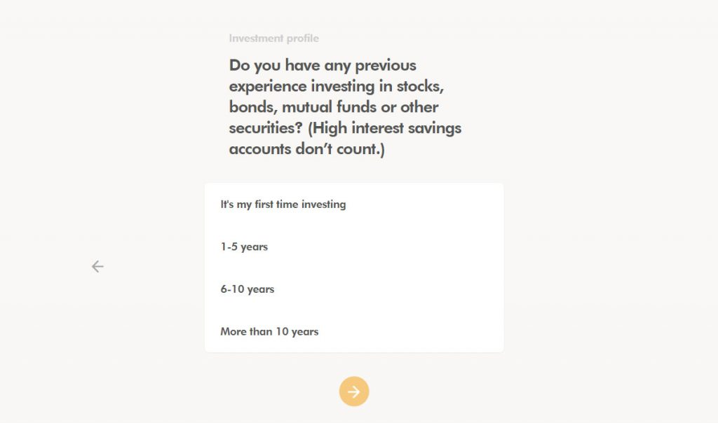 WealthSimple Signup - Step 2 - 5 - Experience