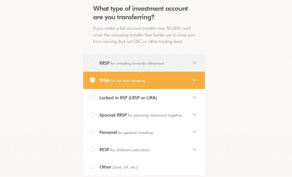 WealthSimple Signup - Step 3 - 2-1 - Transfer