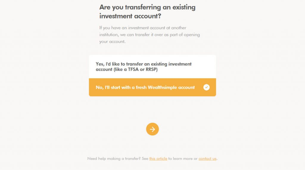 WealthSimple Signup - Step 3 - 2 - Transfer