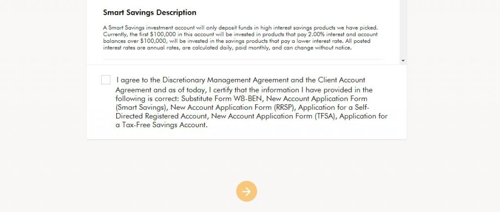 WealthSimple Signup - Step 3 - 6 - Review Agreement