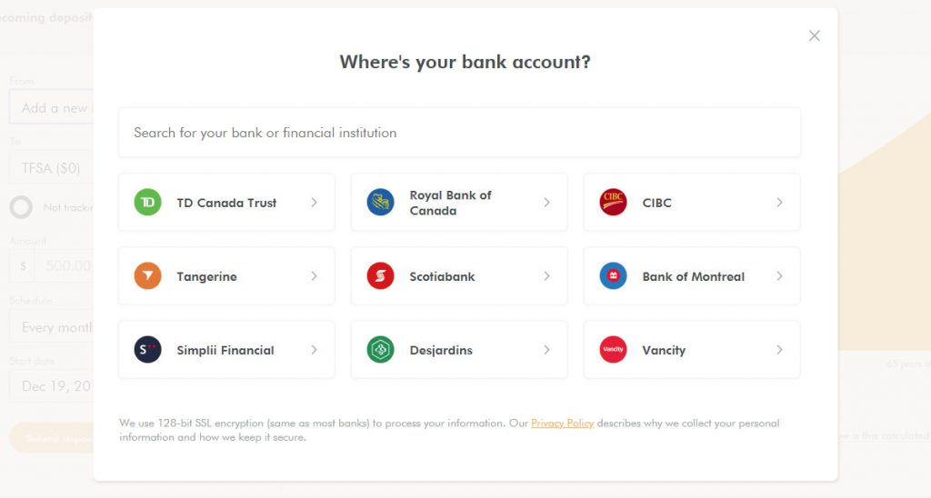 WealthSimple Signup - Step 4 - 4 - Pick Bank