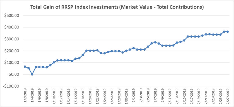 January February 2019 - RRSP Index Portfolio Graph