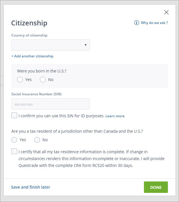 Sign up with Questrade - 16 - Citizenship Information