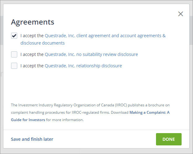 Sign up with Questrade - 26 - Setup account - Agreements