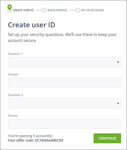 Sign up with Questrade - 6 - Security questions
