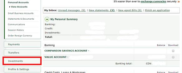 Buying TD e Series through TD Easyweb - mid size
