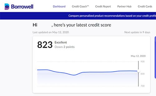 Borrowell screen shot of credit score
