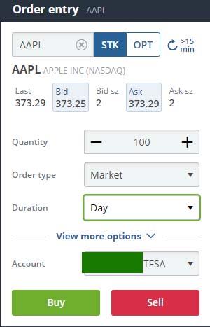 Market Order in Questrade