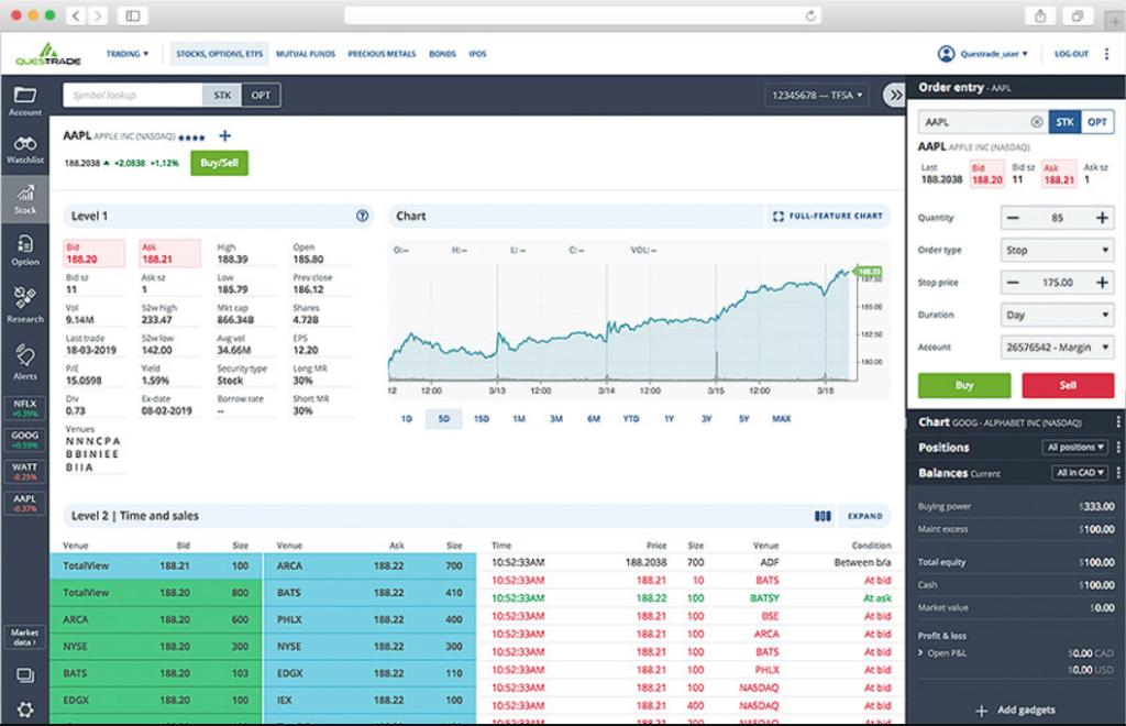 Questrade web trading platform